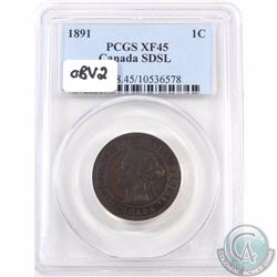 1-cent 1891 SD SL Obverse 2 PCGS Certified EF-45