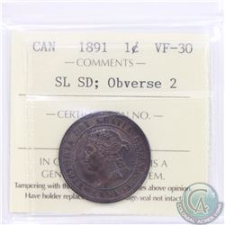 1-cent 1891 SD SL Obverse 2 ICCS Certified VF-30