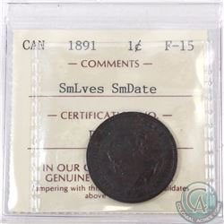 1-cent 1891 SD SL Obverse 2 ICCS Certified F-15
