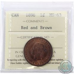1-cent 1896 ICCS Certified MS-63. Red and Brown