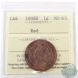 1-cent 1898H ICCS Certified MS-63 Red