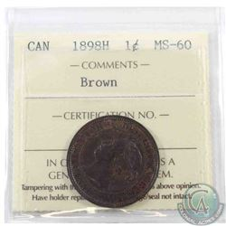 1-cent 1898H ICCS Certified MS-60 Brown