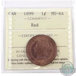 1-cent 1899 ICCS Certified MS-64 Red