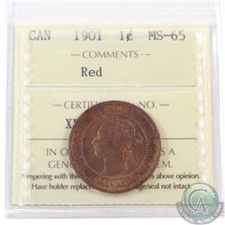 1-cent 1901 ICCS Certified MS-65 Red
