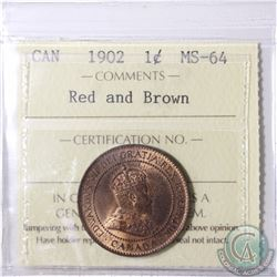1-cent 1902 ICCS Certified MS-64 Red/Brown.
