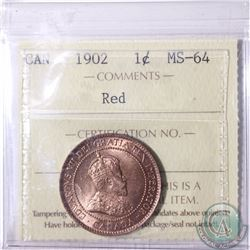 1-cent 1902 ICCS Certified MS-64 Red