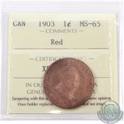 1-cent 1903 ICCS Certified MS-65 Red