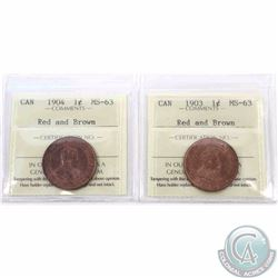 1-cent 1903 & 1904 ICCS Certified MS-63 Red and Brown. 2pcs