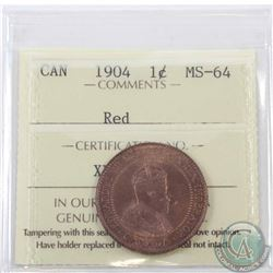 1-cent 1904 ICCS Certified MS-64 Red