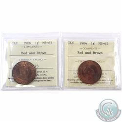 1-cent 1904 & 1906 ICCS Certified MS-62 Red and Brown. 2pcs