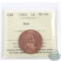 1-cent 1905 ICCS Certified MS-64 Red