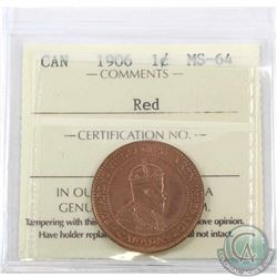 1-cent 1906 ICCS Certified MS-64 Red