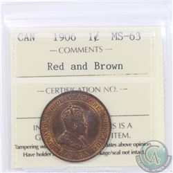 1-cent 1906 ICCS Certified MS-63 Red/Brown
