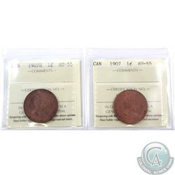 1-cent 1907 & 1907H ICCS Certified AU-55. 2pcs