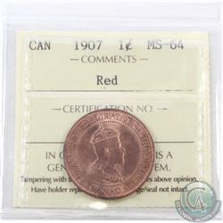 1-cent 1907 ICCS Certified MS-64 Red