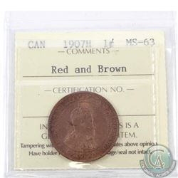 1-cent 1907H ICCS Certified MS-63 Red and Brown