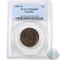 1-cent 1907H PCGS Certified MS-62 Brown