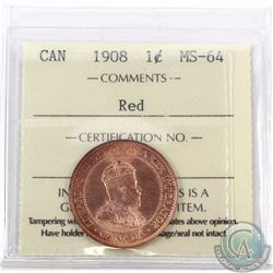 1-cent 1908 ICCS Certified MS-64 Red