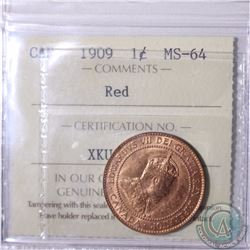 1-cent 1909 ICCS Certified MS-64 Red