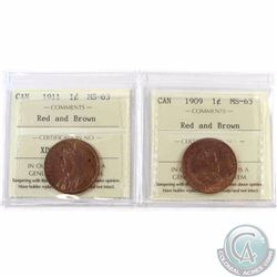 1-cent 1909 & 1911 ICCS Certified MS-63 Red and Brown. 2pcs