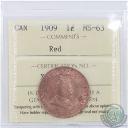 1-cent 1909 ICCS Certified MS-63 Red