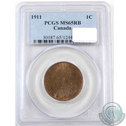 1-cent 1911 PCGS Certified MS-65 Red and Brown