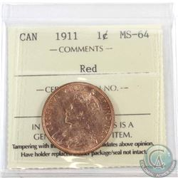 1-cent 1911 ICCS Certified MS-64 Red