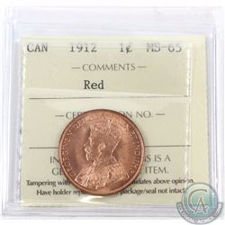 1-cent 1912 ICCS Certified MS-65 Red. Great eye Appeal!