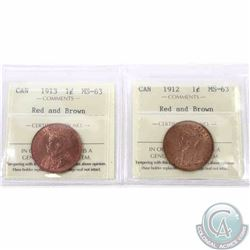 1-cent 1912 & 1913 ICCS Certified MS-63 Red and Brown. 2pcs
