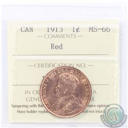 1-cent 1913 ICCS Certified MS-66 RED! Tied For the Finest Known Pop=7! A bright flashy coin with exc