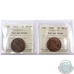1-cent 1913 & 1918 ICCS Certified MS-62 Red and Brown. 2pcs