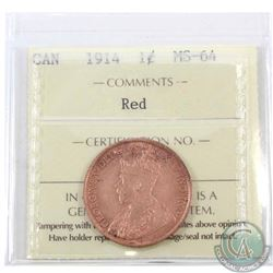 1-cent 1914 ICCS Certified MS-64 Red