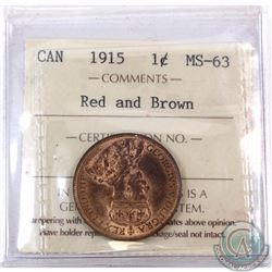 1-cent 1915 ICCS Certified MS-63 Red and Brown