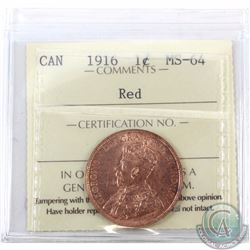 1-cent 1916 ICCS Certified MS-64 Red