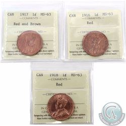 1-cent 1916, 1917 Red and Brown & 1918 ICCS Certified MS-63 Red. 3pcs