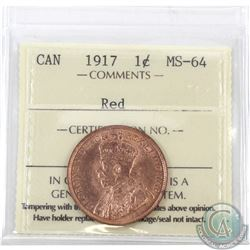 1-cent 1917 ICCS Certified MS-64 Red