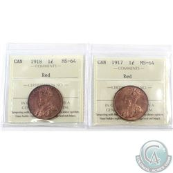 1-cent 1917 & 1918 ICCS Certified MS-64 Red. 2pcs