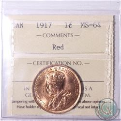 1-cent 1917 ICCS Certified MS-64. An attractive Original Piece with approximately 95% red.