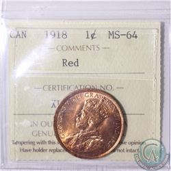 1-cent 1918 ICCS Certified MS-64 Red