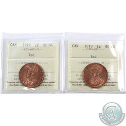 1-cent 1918 & 1919 ICCS Certified MS-64. 2pcs