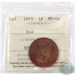 1-cent 1919 ICCS Certified MS-64 Red