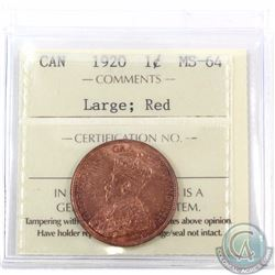 1-cent 1920 Large ICCS Certified MS-64 Red