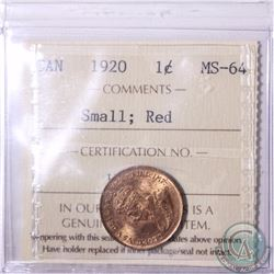 1-cent 1920 Small ICCS Certified MS-64 Red