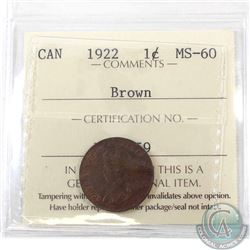 1-cent 1922 ICCS Certified MS-60 Brown. *Key Date* An attractive light chocolate brown with trace re