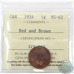 1-cent 1924 ICCS Certified MS-62 Red & Brown. This coin has soft satin fields that glow with the und