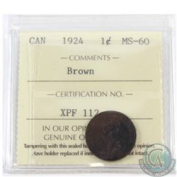 1-cent 1924 ICCS Certified MS-60 Brown
