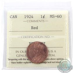 1-cent 1924 ICCS Certified MS-60 Red