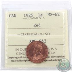 1-cent 1925 ICCS Certified MS-62 Red. A near full red coin with Lustrous Fields.