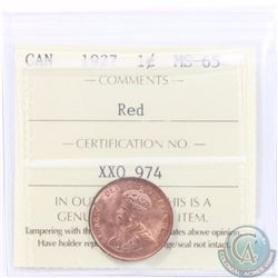 1-cent 1927 ICCS Certified MS-65 RED! Bright Red flashy Coin, tied for the highest grade by ICCS. PO