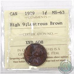 1-cent 1929, High 9; ICCS Certified MS-63 Lustrous Brown. A visually stunning coin with traces of or